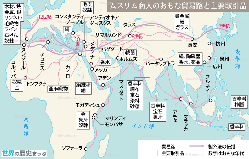 地中海世界の交流 産業と経済の発展 ムスリム商人 ムスリム商人のおもな貿易路と主要取引品地図