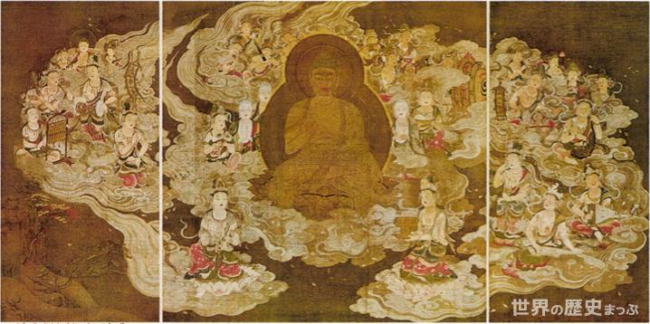 高野山聖衆来迎図 国風文化 浄土の信仰